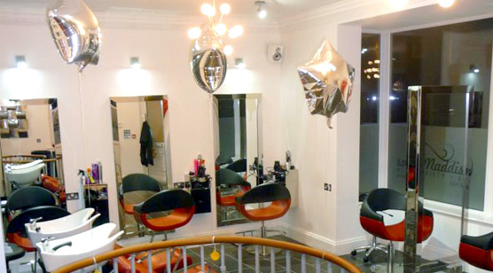 The interior of maddisons fifty seven showing the hair stations what are used by our staff to cut the customers hair - Image is from the upstairs of the salon.