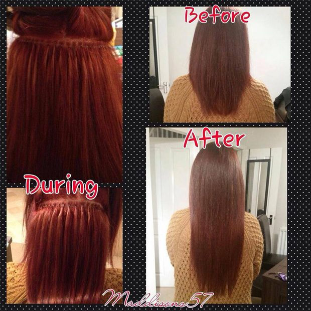 Shows how we actually perform the nano ring hair extensions. a customer is showing has having her hair treated so the extensions can be fitted discretely.
