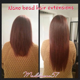 showing a before and after of the nano ring hair extensions on a customer. Picture is made up of 2 images, the left one is before and the right side is after showing the hair has been made longer.